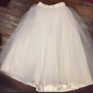 White Tulle Skirt with Rhinestone Accents
